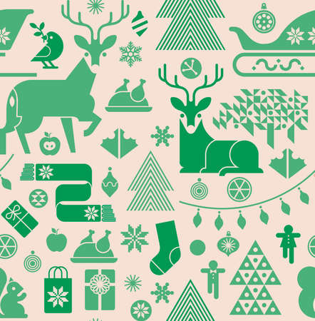 Seamless background with Christmas silhouettes in green colours.