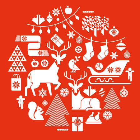 Christmas composition in a shape of circle with winter holiday symbols and silhouettes.