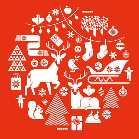symbole: Composition de Noël en forme de cercle avec des symboles et des silhouettes de vacances d'hiver. Illustration