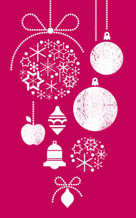 Composition with silhouettes of Christmas balls made of geometrical snowflakes.