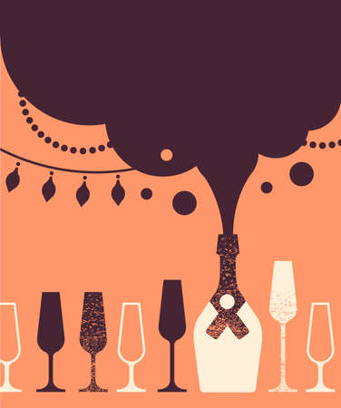 alcoholic drink: Composition with Champaign glasses, bottle and bubbling sparkling wine.