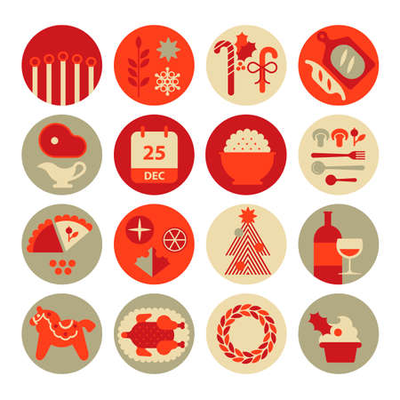 Icon set with Christmas food silhouettes.