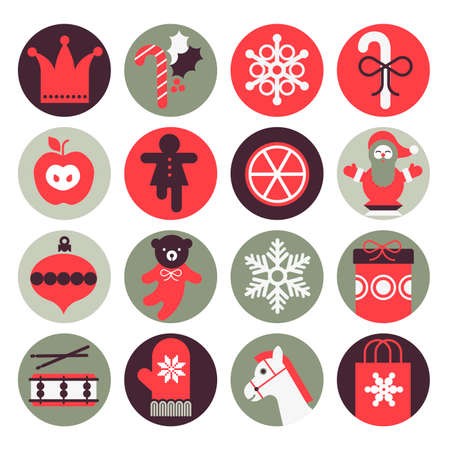 teddy bear christmas: Icon set with silhouette of Christmas gifts.