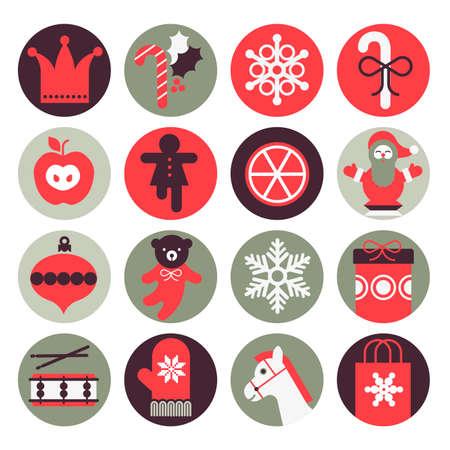 oso de peluche: Icono de conjunto con la silueta de los regalos de Navidad.