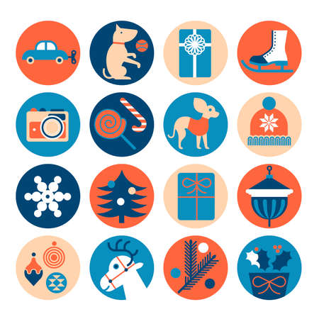 Icon set with silhouette of Christmas gifts.