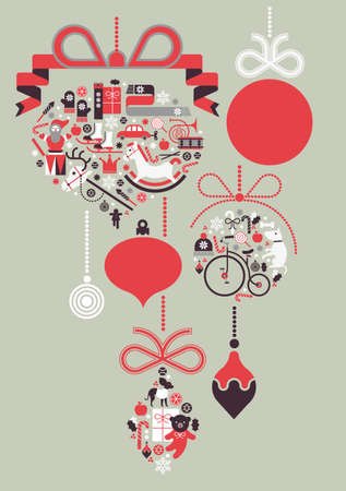Composition with Christmas silhouettes and symbols of seasonal gifts.