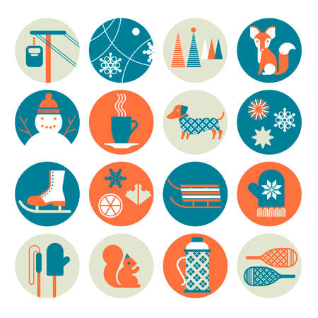 Icon set with winter activity silhouettes.
