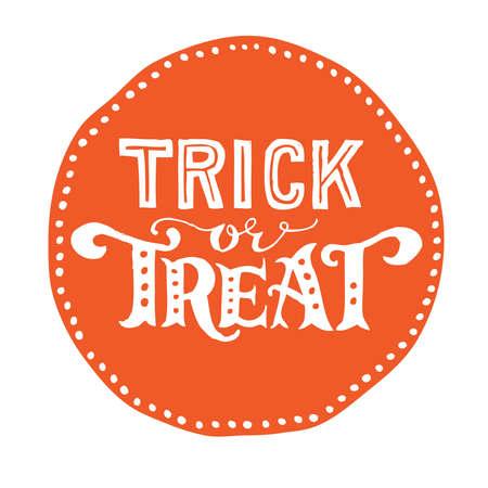 treats: Dibujado a mano el texto de halloween del vintage con letras de la mano y la decoración. Truco o trato. Este texto puede ser utilizado como un elemento de tarjeta de felicitación o de impresión.