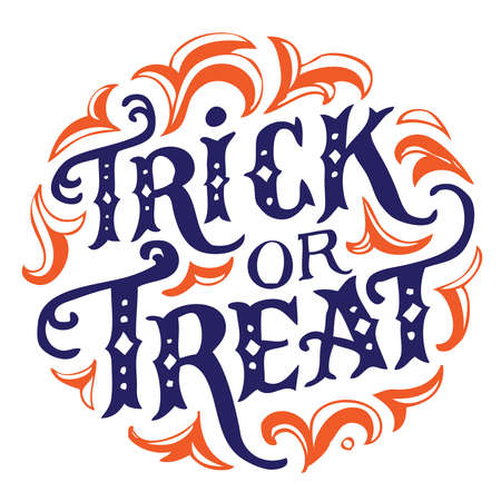 Hand drawn vintage halloween text with hand lettering and decoration. Trick or treat. This text can be used as a greeting card element or print. Illustration
