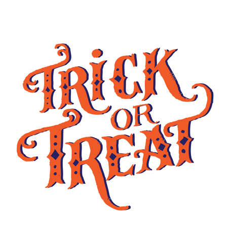 Hand drawn vintage halloween text with hand lettering and decoration. Trick or treat. This text can be used as a greeting card element or print. Illusztráció