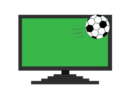 Soccer ball get out of TV screen Illustration