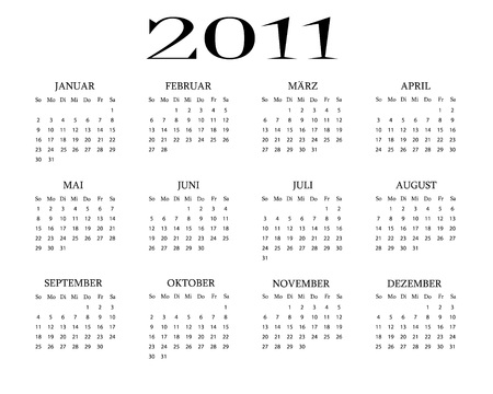 German calendar 2011 Vector