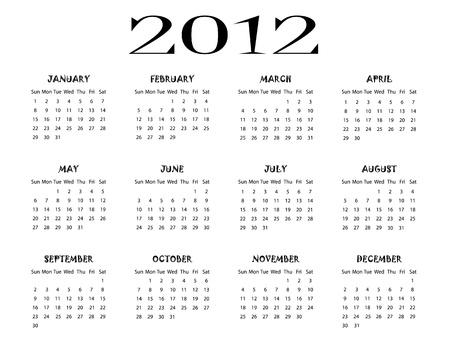 Calendar 2012 Stock Vector - 10751775