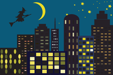 Halloween in city Vector