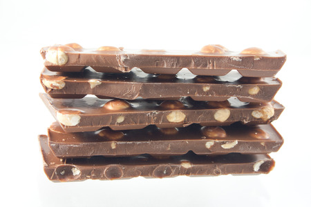 Rows of hazelnut chocolate Stock Photo