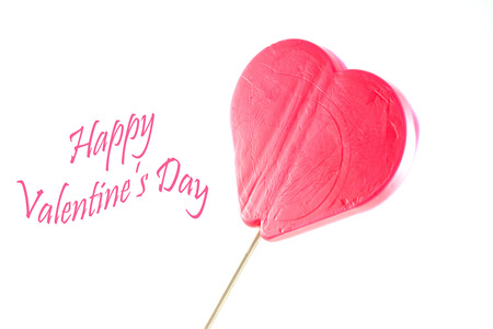 Heart shaped lollipop with valentine greeting
