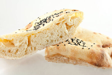 black seed: Round bread with black seed Stock Photo