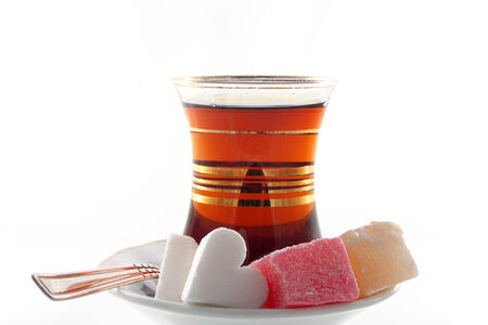 Turkish traditional tea with locum and heart shaped sugar