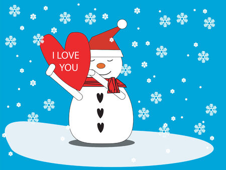 Snowman with heart
