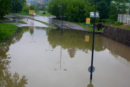 City street under water