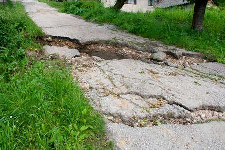 Broken road by earth sliding