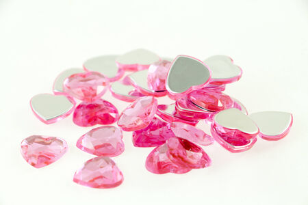 Group of pink heart shaped beads