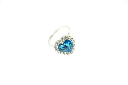 Shiny gemstone blue heart ring