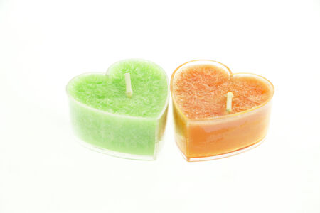 Two heart shaped candles