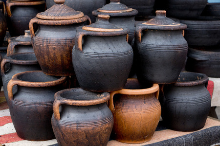 Group of jar outside during traditional fair Stock Photo
