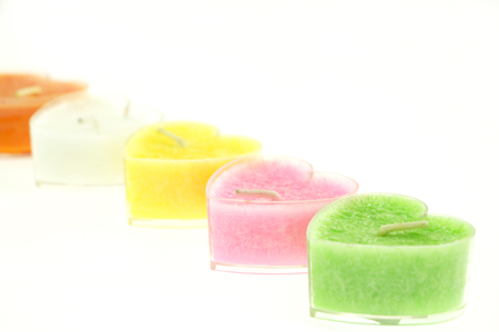 Raw of heart shaped candles Stock Photo