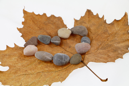 Heart shape made of stone on autumn leaf Stock Photo