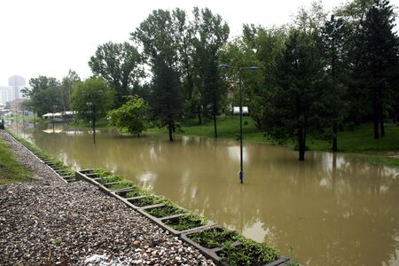 City street during flood Stock Photo