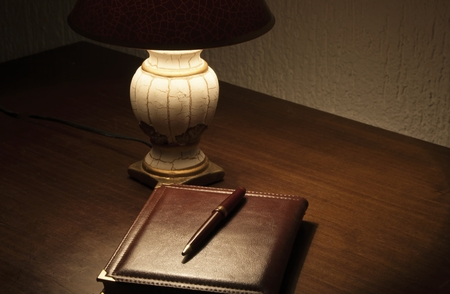 Lamp and notes on desk