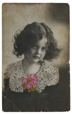 Old postcard portrait of a girl  Embroidery silk  1900-1910 year photo
