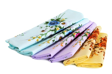 Multi-colored cotton handkerchiefs, isolated on a white background