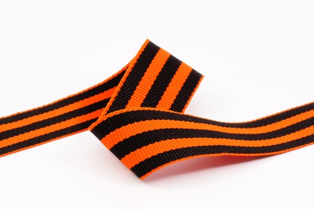 St. George ribbon, close-up isolated on a white background