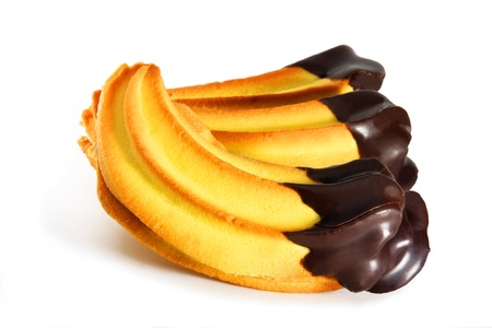 shortbread cookies banana with dark chocolate, isolated on a white background
