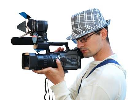 A young man with a video camera, isolated photo