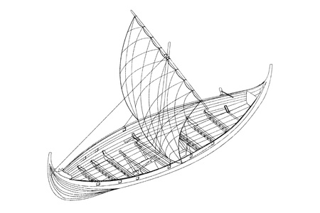 keel: Model sailing ship, isolated on a white background