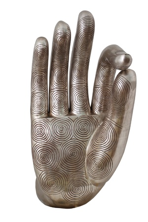 Decorative Metal hand man, isolated on a white background photo