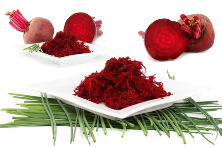 rote: beet and spring onions, collages, isolated on a white background