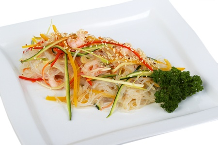 Spaghetti Brown Rice with shrimp and vegetables photo