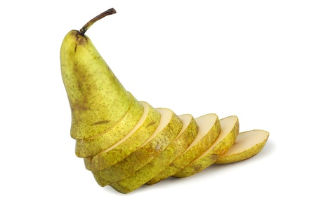 half stuff: Fresh ripe yellow pear cut into slices, isolated