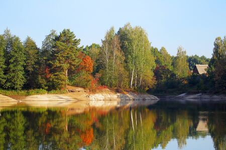 River landscape in autumn forest at sunrise Stock Photo - 10744387