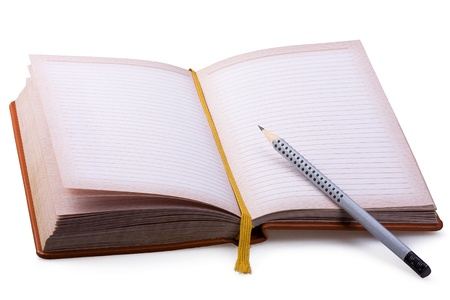 Notepads and pencil on a white background Stock Photo