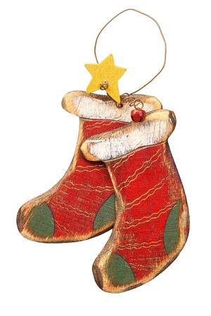 botas de navidad: de madera, adornos de Navidad retro, aisladas en blanco