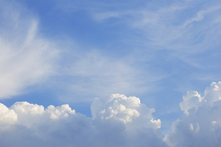 Beautiful skyscape background. White clouds and blue sky idyllic texture. photo