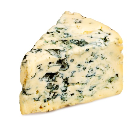 Slice of Roquefort cheese on white background Stock Photo