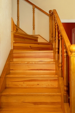 The old wooden staircase in the house photo