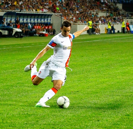 ODESSA, UKRAINE - AUGUST 19, 2012  Dario Srna, Shakhtar captain of the football team to the championship match between Shakhtar Donetsk of Ukraine and Chernomorets Odessa August 19, 2012 in Odessa, Ukraine
